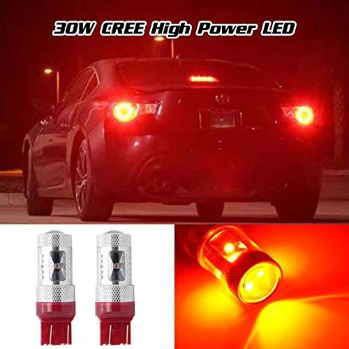 2Pcs Cree Chips Canbus High Power 30W Red 7443 T20 7440 W21W WY21W Led Projector 600LM Rear Back Brake Bulb(Pack of 2 Pcs)