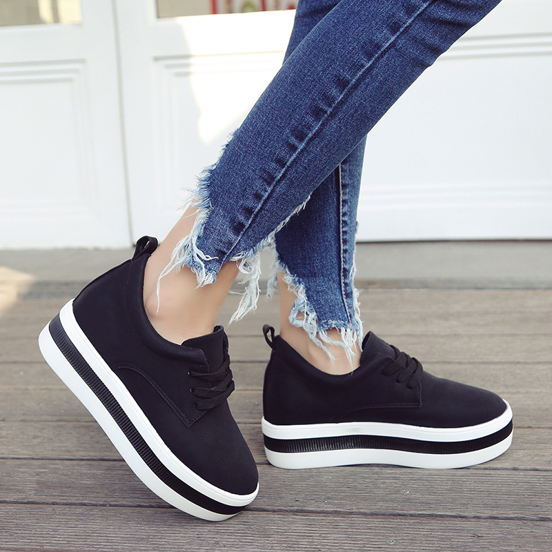 Image 5 - Women New Spring summer Faux Suede Shoes Casual Lace Up Sneakers Female Platform Shoes Ladies Flats Size 35 40 n969-in Women's Flats from Shoes