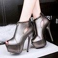 2017 New Fashion Super Thin High Heels Pumps Women PU Upper Peep Toe Sandals Sexy Platform Hollow Nightclub Evening Party Shoes