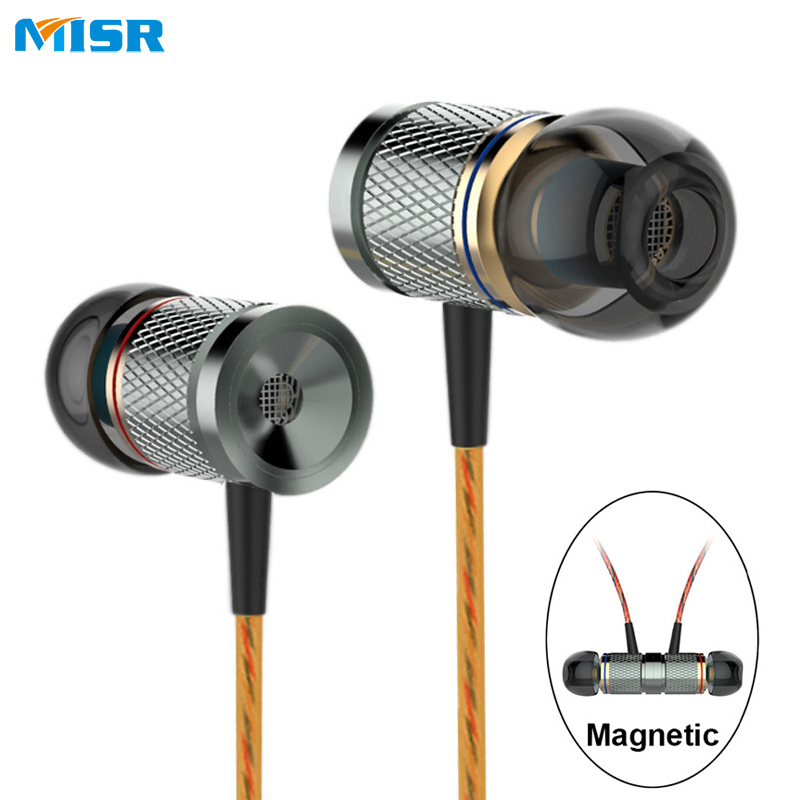 MISR XD3 Wired In-Ear Earphone Metal Headset Magnetic with Mic Microphone Stereo Bass for Phone iphone samsung huawei xiaomi anbes in ear wired earphone metal magnetic headset for phone with mic microphone super bass 3 5mm jack standard stereo earbuds