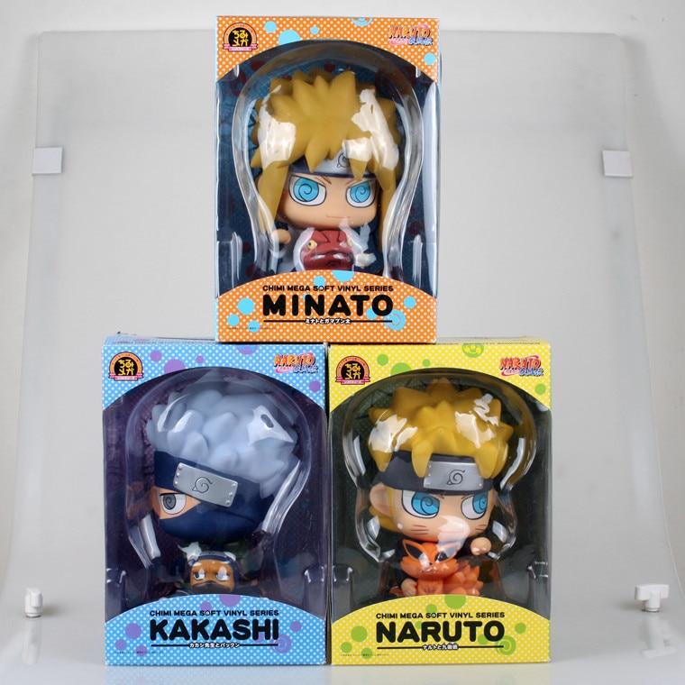 Anime Naruto 17CM Uzumaki Naruto Namikaze Minato Hatake Kakashi Piggy Bank PVC Figures Collectible Model Toys Brinquedos naruto hatake kakashi pvc action figure collectible toy 24cm kunai