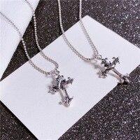 Real 925 Sterling Silver Religious Cross Pendant Vintage Elegant Women Belief Necklace Unique Designer Collar Jewelry