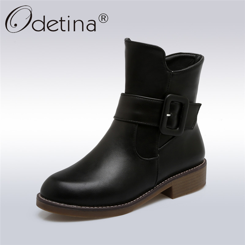 Odetina 2017 New Fashion Women Autumn Buckle Strap Ankle Boots Chunky Low Heel Booties Side Zipper Casual Shoes Big Size 34-43 odetina 2017 new summer ankle strap ballet flats buckle women mary jane shoes round toe casual flat shoes sweet big size 34 43