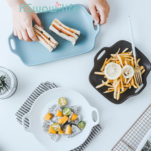 Rectangular Tableware Ceramic Plate Creative Set Dish Bread Dessert Tray Home Breakfast Plates For Kitchen Supplies wooden tray beech rectangular with handle bread board pizza plate plate kitchen utensils