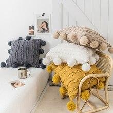 Белый с цветочным рисунком, кисточками, накидка для подушки с помпоном, желтого, серого цвета декоративная наволочка на подушку для домашнего декора Подушка Чехол размером 45*45 см