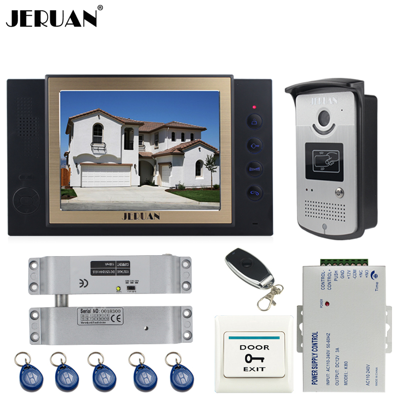 JERUAN black 8`` LCD Video Door Phone System 700TVT Camera access Control System+Electric Bolt lock+Remote control+8GB card jeruan black 8 lcd video door phone system 700tvt camera access control system cathode lock remote control 8gb card