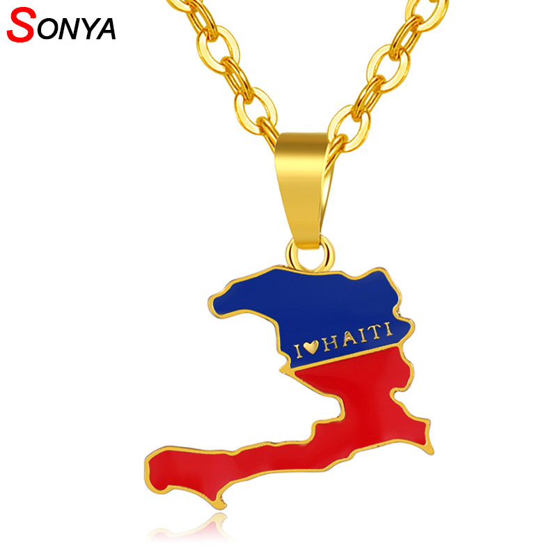 HAITI  COUNTRY FLAG SMALL METAL NECKLACE CHOKER . NEW