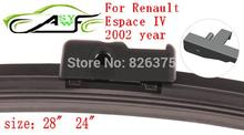 "Free shipping car wiper blades For Renault Espace IV size 28"" 24"" 2002 year Soft Rubber WindShield Wiper Blade 1PAIR(China)"