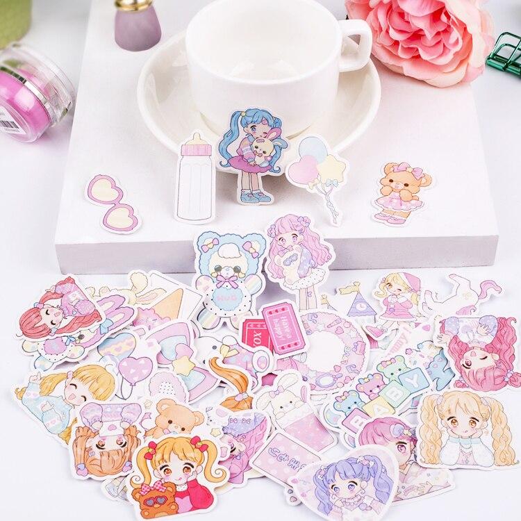 40pcs/pack Kawaaii Cartoon Sweet Girls Cute Decoration Stationery Sticker Diy Ablum Diary Scrapbooking Label Sticker Stationery