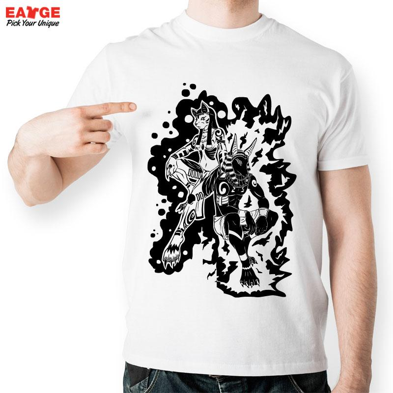 [EATGE] Anubis T Shirt Egyptian Goddess Bastet T-shirt Egypt Creative Cool Design Mystery Tshirt Exclusive Pattern Tee For Men