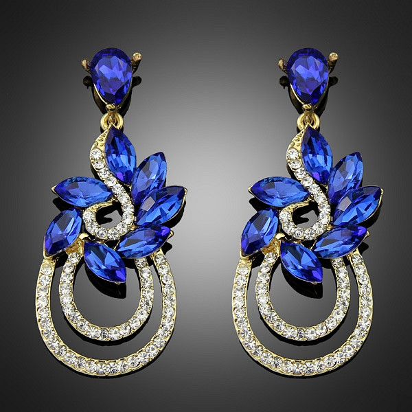 2 Inch New Drop 18k Gold Crystal Royal Blue Earrings Statement Indian Boho Style
