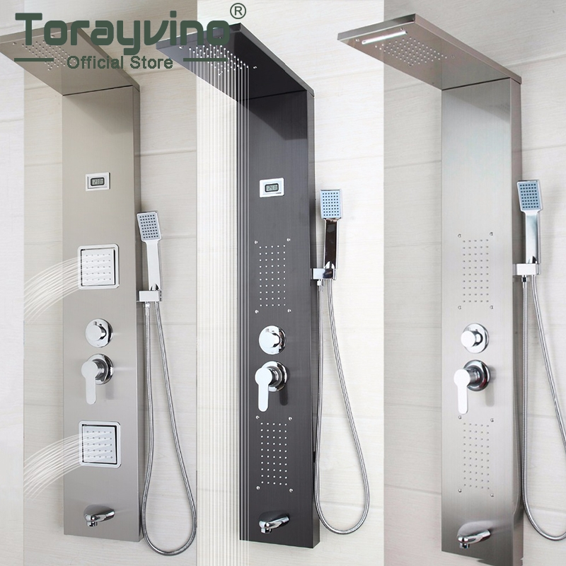 Audacious Torayvino Bathroom Stainless Steel Shower Column Wall Mounted One Handle +handshower+tub Spout+massage System Shower Panel