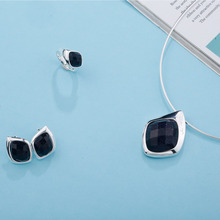 цена SA SILVERAGE Stud Earrings Wedding Rings Jewelry Set Woman 925 Sterling Silver Black Aventurine Rhombus Shape Pendant Necklaces онлайн в 2017 году