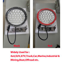 Black Red 9 Inch Round LED Driving Light 150W Spot Light With Cover Fit 4X4 Truck