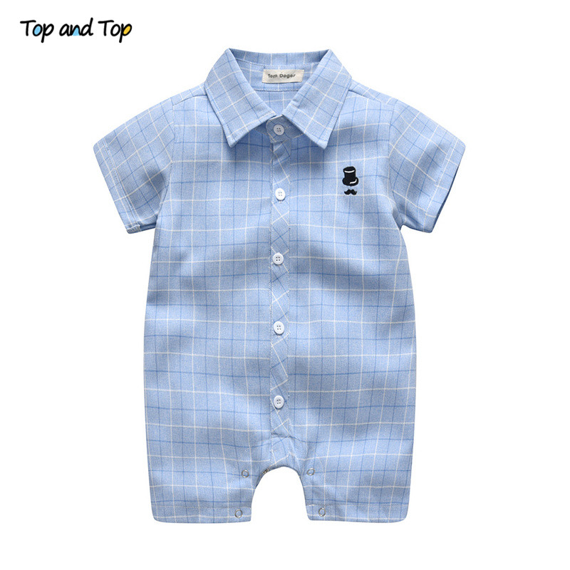 Top And Top Summer Short Sleeve Baby Rompers Gentleman Plaid Jumpsuit For Toddler Infant Casual Baby Boy Clothes 0-24 Months