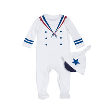 Купить с кэшбэком Newborn Baby Boy Clothes 2PCS 100% Cotton Long Sleeve O-neck Infant Baby Jumpsuit Sailor Pattern Costume Pajamas New born 0-3m