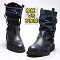 Плюс Бархат Мужская Зимняя Обувь Высокого Топ Лоскутная Работа Безопасности Натуральная Кожа Байкер Резиновые Сапоги Женщин Корейской Версии Круглого Toe
