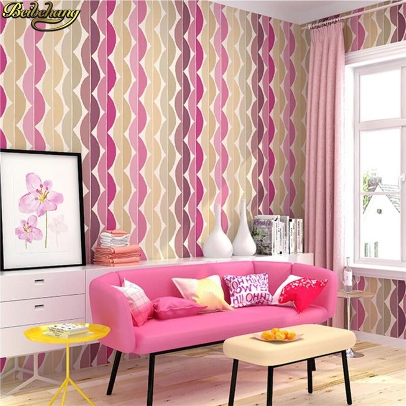 beibehang Colorful pink Stripe Wallpaper Roll Modern Northern Europe ...