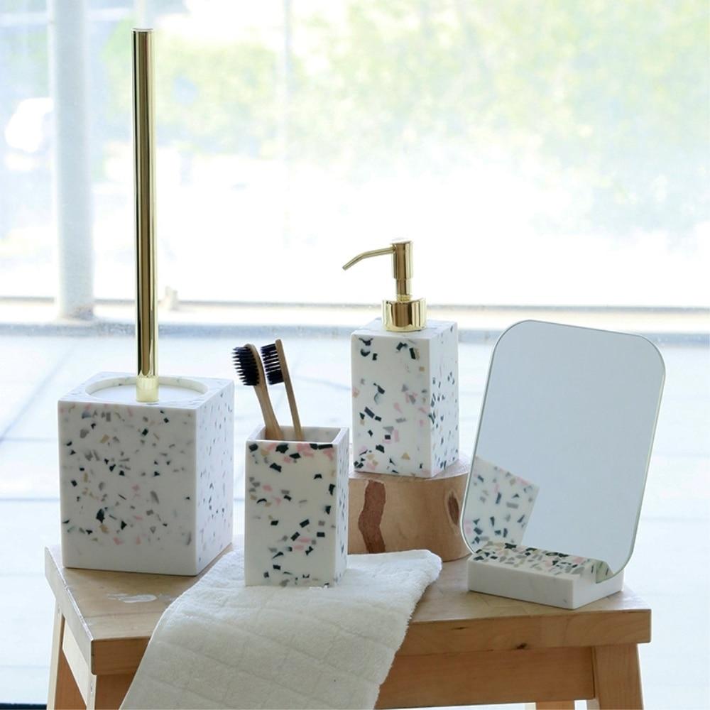 3 pièces/ensemble résine salle de bains accessoires Set outils de lavage émulsion bouteille bain de bouche tasse toilette brosse fournitures ménagers
