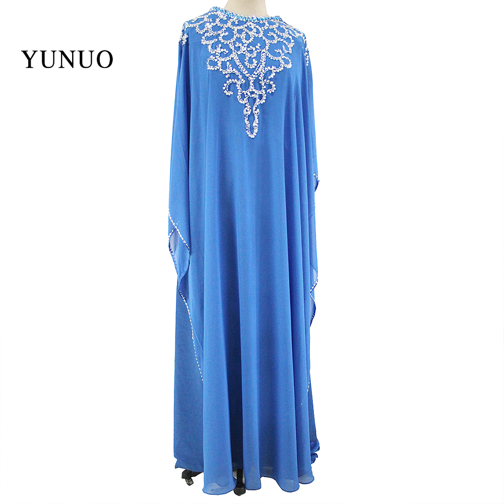 Real Photos Muslim Prom Dresses Sexy Straight Scoop Beaded Long Sleeve Hot Sale Custom Blue Chiffon Long Formal Evening Gowns