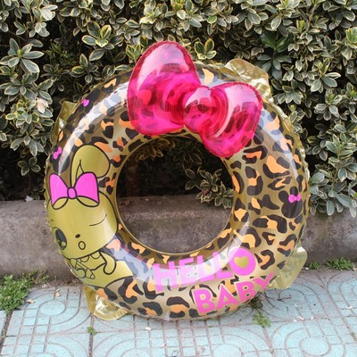 Kids Leopard Jenner Bowknot INS Inflatable Raft Swimming swim ring Game Float bathing toys Summer Water pool tube
