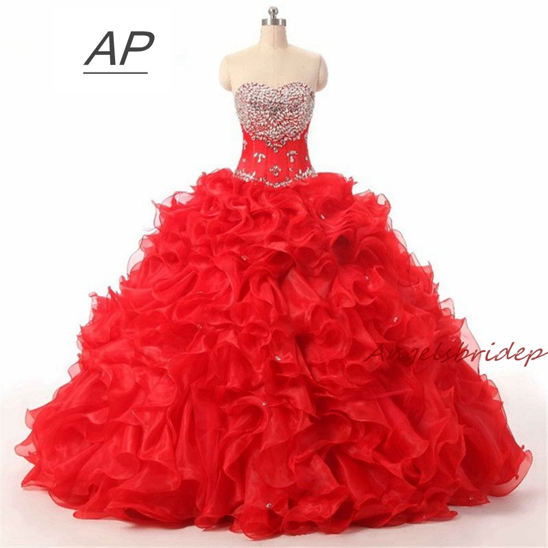 ANGELSBRIDEP Red Quinceanera Dresses For 15 Party Debutante Gowns Sparking Crystal Sweetheart High Quality Celebrity Gown