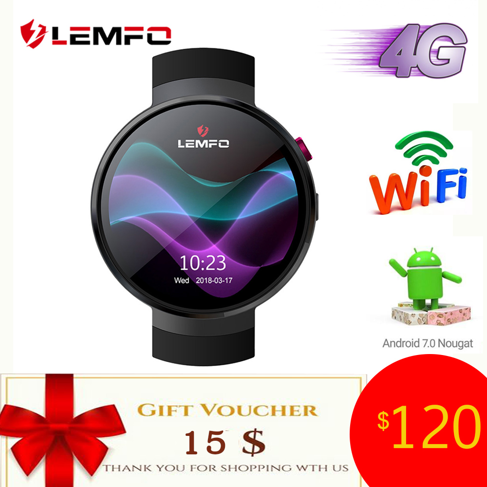 LEMFO LEM7 4g Android 7.1 Montre Smart Watch Hommes 1 gb + 16 gb 2MP Caméra GPS WIFI 580 mah grosse Batterie 1.39 pouce Écran AMOLED Smartwatch
