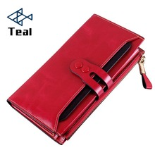 2017 new fashion Purse Womens leather wallet women long luxury brand credit card holder for womens Female bag Three Fold