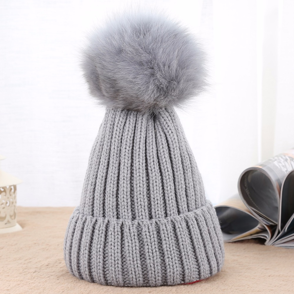20e5ed77b85 High Quality Fox Fur Ball Pompon Solid Beanie Hats Girls Pom Poms Warm  Knitted Blank Beanies Women Winter Headgear for Adults-in Underwear from  Mother ...