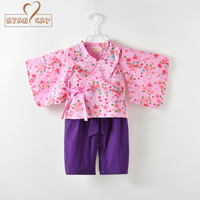 Baby Girl Clothes Japanese Kimono Purple Print Romper Bow Knot Strap Pants Coat 2pcs Set Party