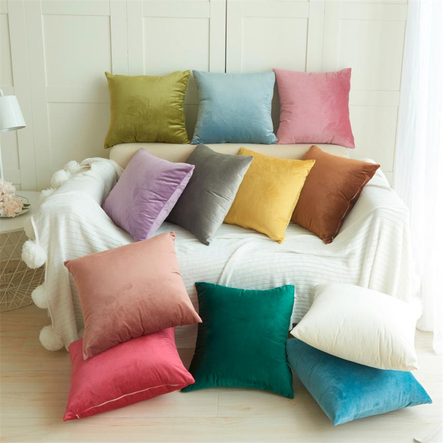 New 1pc Velvet Pillow Sofa Waist Throw Cushion Cover Home