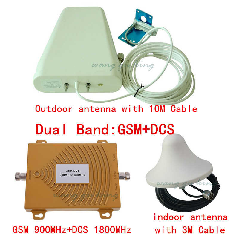 Hot! GSM 900Mhz + DCS 1800MHz Dual Band Signal Booster, Mini 2G GSM Mobile Phone Signal Repeater , Signal Amplifier With Antenna
