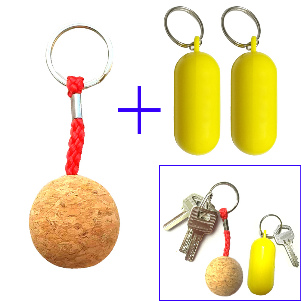 Cork Ball Floating Keychain Key Ring Plastic Fender Buoyant Keyring For Marine Boat Sailing Kayak Surf Gift