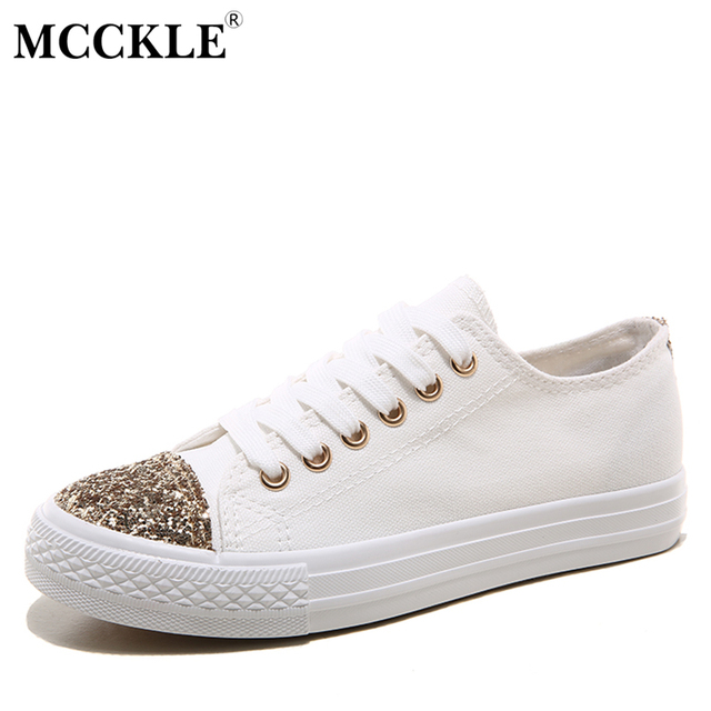 MCCKLE Retail Women Casual Vulcanize ShoeS Hot Sale 2017 Spring Female Fashion Lace-up Canvas Comfortable Flat Walking Footwear