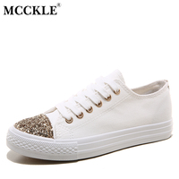 MCCKLE Retail Women Casual Shoes Hot Sale 2017 Spring Fashion Lace Up Canvas Shoes Comfortable Flat