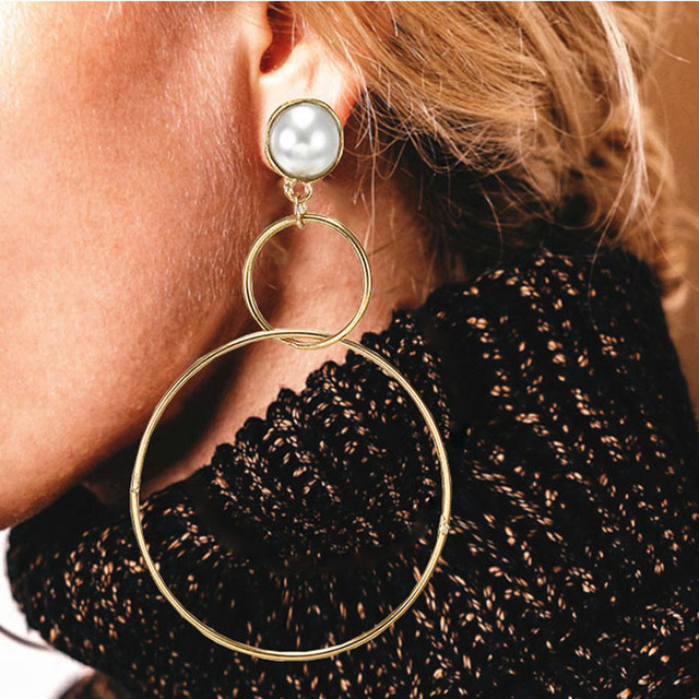Simple fashion gold color Silver plated geometric big round earrings for women fashion big hollow drop earrings jewelry 2
