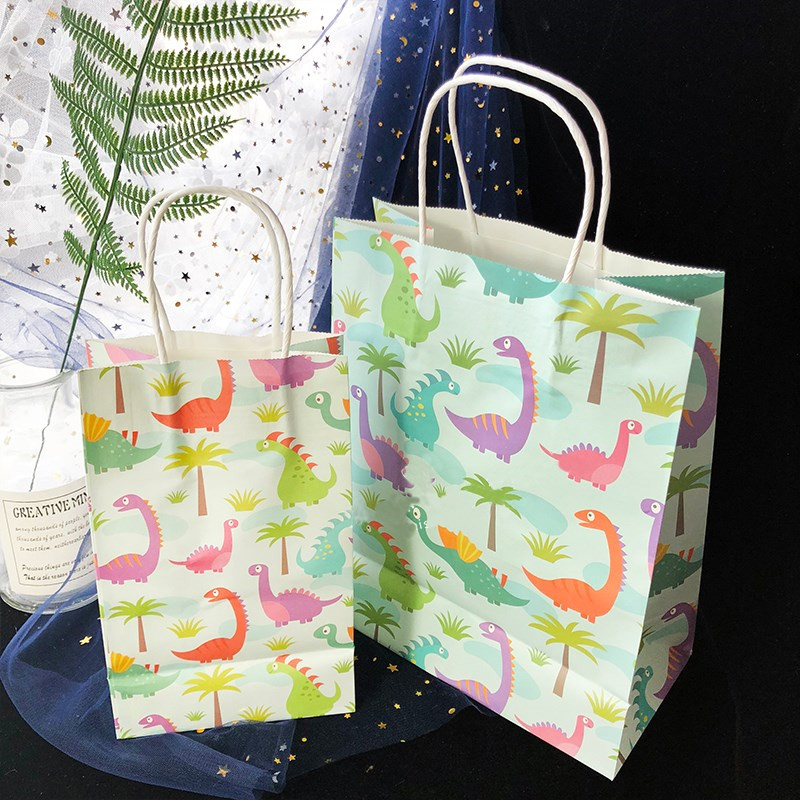 Omilut Dinosaur Party Kraft Paper Bag Candy Bag Hand Bag Unicorn Happy Birthday Party Kid Baby Shower Wedding Decoration Supplie