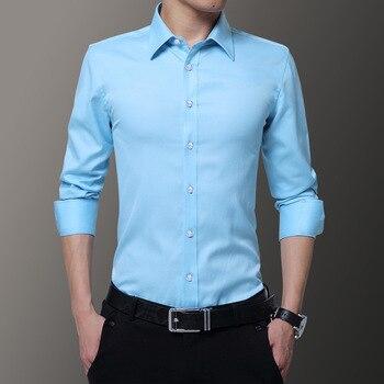 839917ae827 2019 новые мужские рубашки бизнес с длинным рукавом Turn-Down Воротник  Хорошее качество Мужская рубашка Slim Fit платье рубашка Азиатский Размер  6XL 7XL.