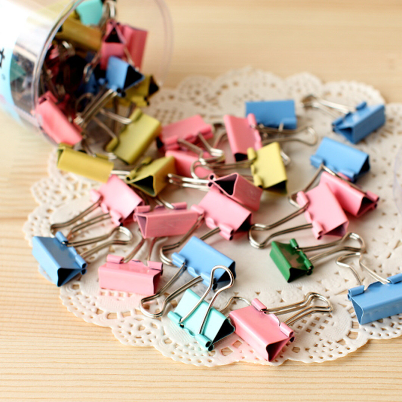 40pcs/box 19mm Solid Metal Binder Clips Binder Clips Office learning Supplies Paper Clip Office Stationery Binding Supplies deli new colorful candy paper clips 200pcs a barrels office stationery metal clips box pin binding supplies learn student clips