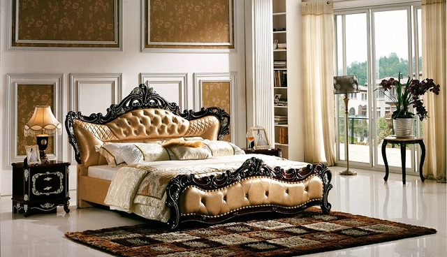 diamond button tufted European genuine leather bed modern bedroom furniture made in China