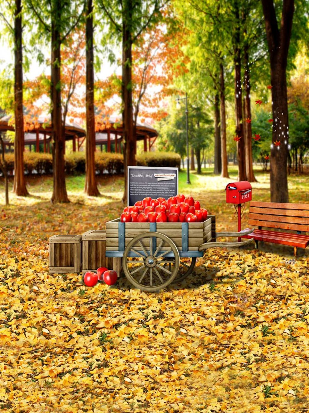 1 5x2 2m Autumn Forest Yellow Leaves Apples Photography