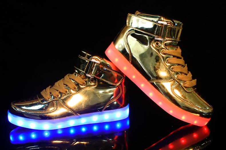 Merkmak Hot Sale Golden Silver Big Size 46 Led Shoes Men Glowing Cool Light Flat High Top Up Boots For Adults In Mens Casual From