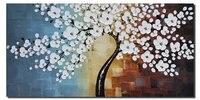 거실 벽 장식 나무 사진 현대 미술 유화 캔버스 질감 벚꽃 수제 작품