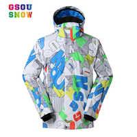 Winter Ski Jackets Men Gsou Snow Warmth Outdoor Snowboard Jackets Waterproof Breathable Male Sports Jackets Plus Size S-XL