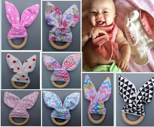 Baby Boy Bunny Ear Teether - Safe Organic Wood Teething Ring, Fish, Plaid, Color Choice, Baby Boy Shower Gift