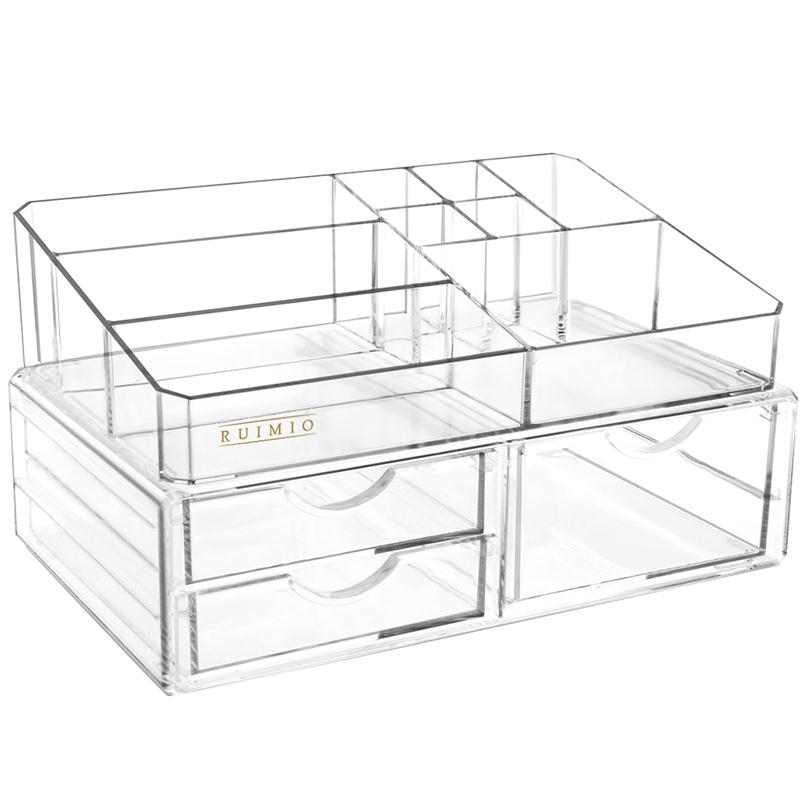 RUIMIO Transparent 3-Drawer Style Makeup Cosmetics Jewelry Storage Box Case Rack Organizer Sundry Storage Makeup Holder Display jewelry box european style makeup case cosmetics beauty organizer wedding birthday gift earrings necklace jewelry storage box