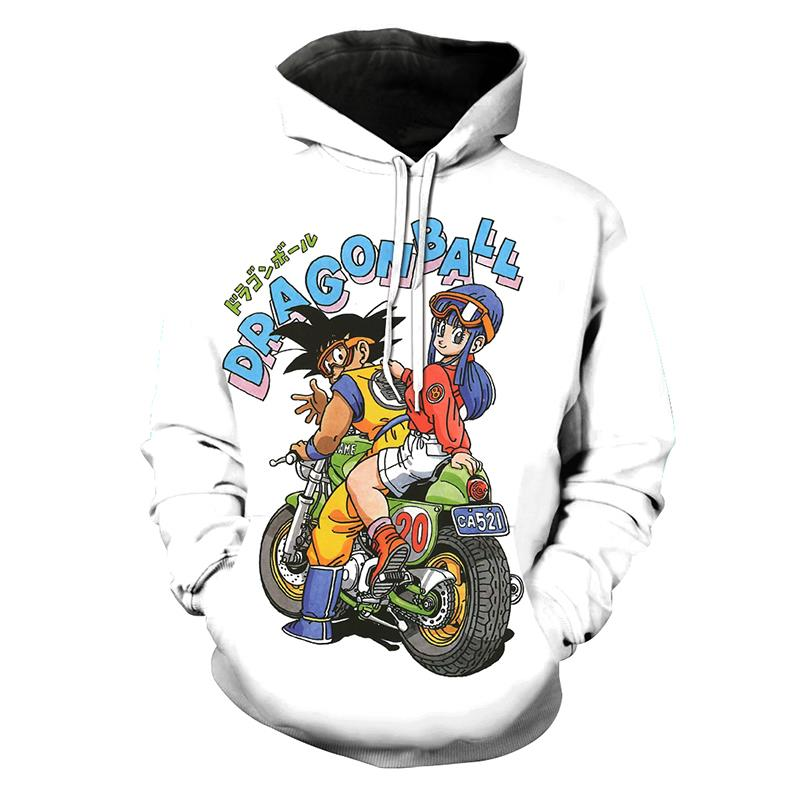 White Hoodies 2018 Fashion Spring Men 3d Print Dragon Ball Z Boy Sweatshirt Hoodie Casual O-Neck Pullovers Sweats Jackets