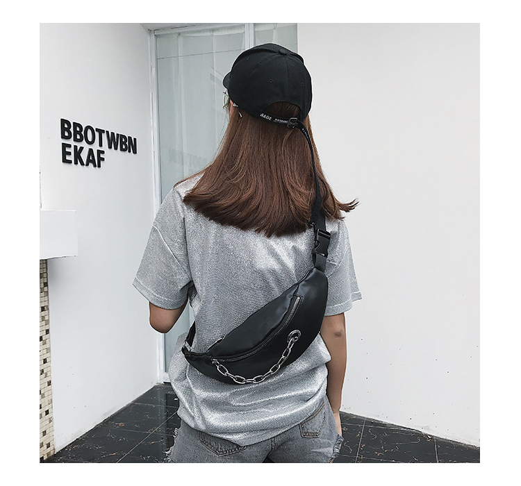 QIUYIN Chest Handbag Black Color New Fashion High Quality 2019 Waist Bag Women Waist Fanny Packs Belt Bag Luxury Leather in Waist Packs from Luggage Bags