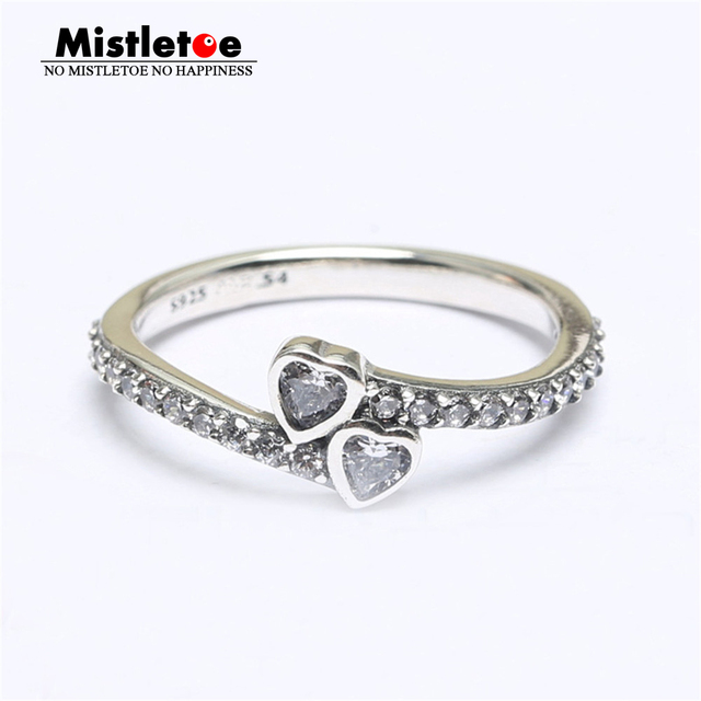 c73acfdf5 Genuine 925 Sterling Silver Forever Hearts, Clear CZ Ring Compatible with European  Jewelry