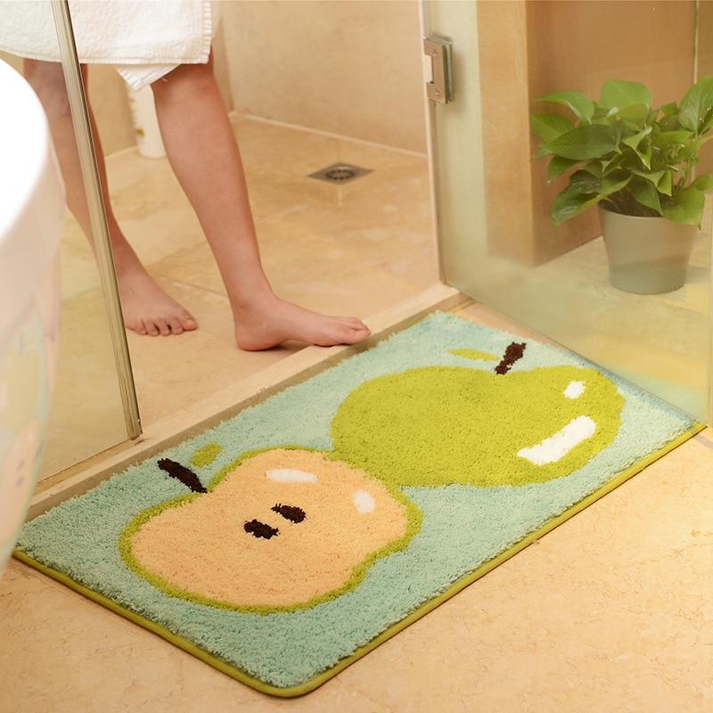 creative green fruit printed bathroom carpet antislip toilet rugs wc mat multi styles bathroom